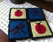 Coaster Set Dragon Fly and Lady Bugs  Set of 4 100% wool hand hooked coasters