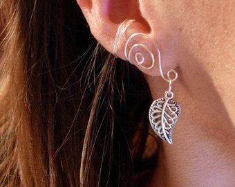 Pair of Ear Cuffs with Antiqued Silver Leaf Accent Beads, sterling silver or silver plated