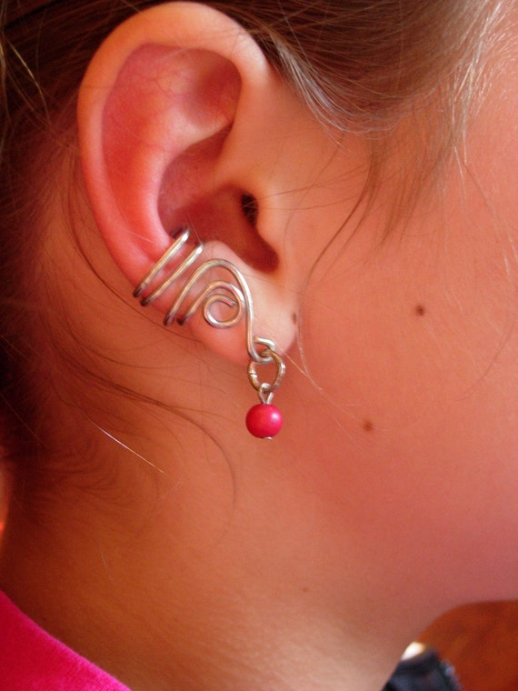 SALE ENDING SOON   Silver ear cuff with hot pink bead