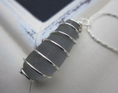 Sea Glass Necklace, Wire Wrapped Gray, Rare