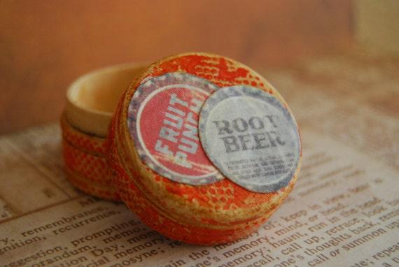 Wood Ring Box, Bottle Caps Vintage Image
