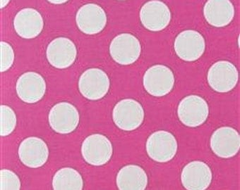 Hot pink andWhite Polka Dot Fabric 1 Yard