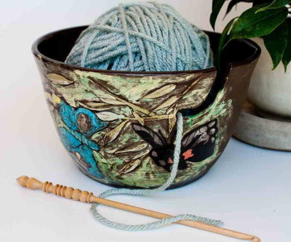 Yarn Bowl in black clay with images of butterflies