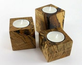 Candle holders - Locally salvaged Maple tea light holders (set of 3) - Clearance Sale