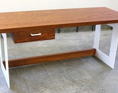 Desk - Modern wood and steel Desk in bubinga with White Steel Legs (FREE SHIPPING)