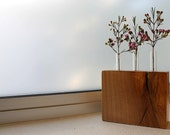 Test tube bud vase with wood base made of locally Salvaged eco friendly Maple
