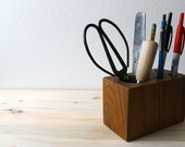 Retro Modern Desk Caddy - Locally Salvaged Red Elm desk organizer