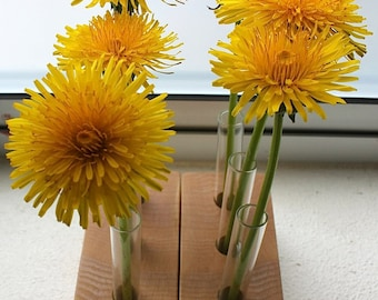 Test tube flower vase with wood base made with eco Locally Salvaged Maple (set of 2)