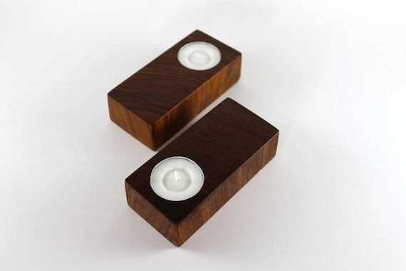 Wood tea light candle holders made of reclaimed Rosewood (Bubinga) (Set of 2)