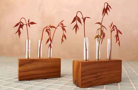 Locally Salvaged Red Elm Bud Vases - Eco Friendly for wedding favors