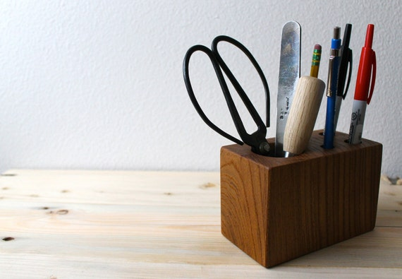 Retro Modern Desk Caddy - Locally Salvaged Red Elm desk organizer