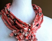 Jersey Infinity Scarf Necklace, Patterned Black, White, Red Tshirt