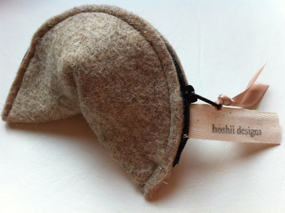 Fortune Cookie Change Purse natural wool eco friendly  sustainable renewable beige wool felt coin purse wallet
