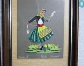 """Vintage Czech Peasants Original Signed & Framed Art 8"""" x 6"""""""