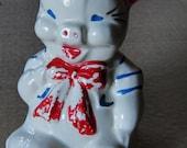 Chalkware Piggy Banks Boy & Girl Pig Vintage  Banks 1930 - 1940 Antique Ceramic Charming Bank Sailor Boy Pig set of 2