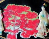 Mother of Pearl Geishas Handpainted Fan Decoupage Tree
