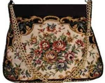 Vintage Purse Silk Tapestry  La Regale Handmade Silk Purse Macau 1950s Lucide Grande La Regale Double Chain Strap Handles