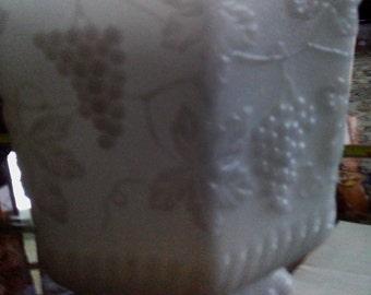 Anchor Hocking Fire King Ware White Milk Glass Large Planter Grape Foliage