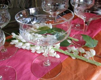Vintage Champagne Glasses Princess House Indiana Glass Crystal Stemware Etched Grape Motif  6-pieces