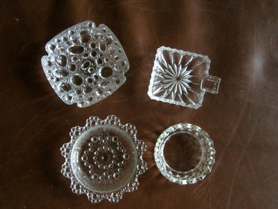 Vintage Ashtrays set of 4-Clear Cut Glass--Salt Dish-Jewlery Holder-Coaster