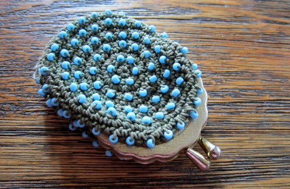 Coin Purse 1960s Blue Beads Silver Clasp