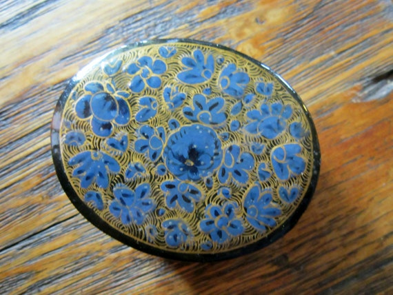 Blue Pansies & Gold background Trinket Box Made in India