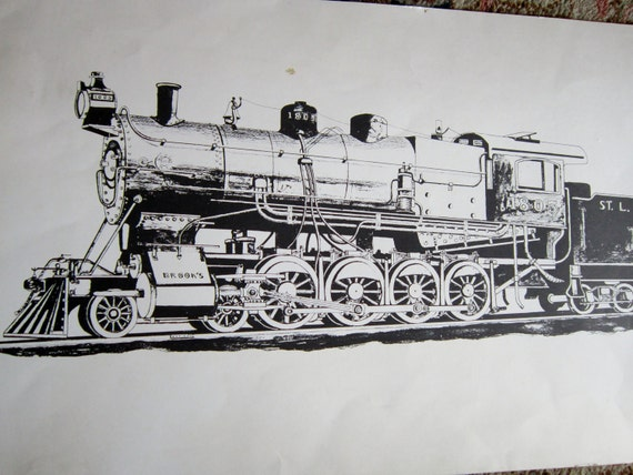 Train Engine St. Louis Iron Mountain & Southern Railway 1966 Drawing