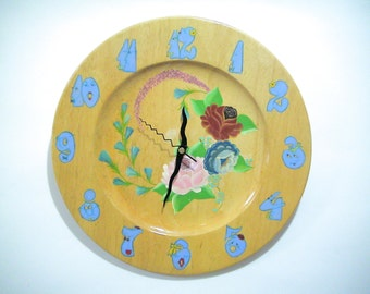 Wall Wooden Plate Clock