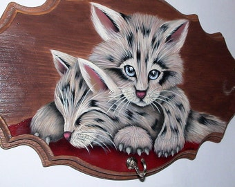 Wood Hat/Coat Rack kitten Bobcats - Wall hanging