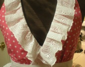 Pretty In Pink  - Halter full Apron, pink w white polka dots, eyelet lace