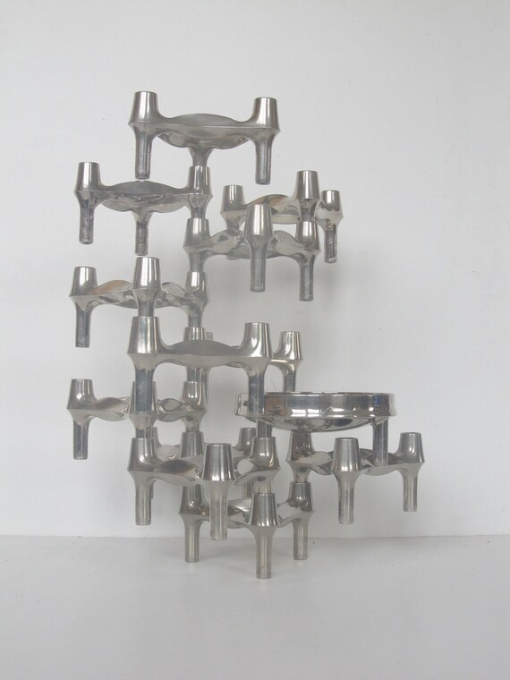 Fritz Nagel & Ceasar Stoffi BMF Candleholders Set of twelve and one bowl, stackable