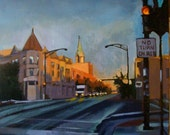 Original Oil Painting titled, Sunrise on Lincoln Avenue 16 x 20 inches