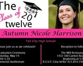 Graduation Invitations Invites High School/College Pink and Black - DIY Printable or I Print - Coordinating Items Available