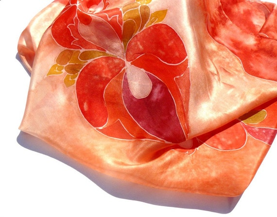 Love silk scarf - painted red scarf with beautiful hearts, red, coral