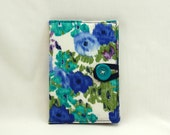 The Wilbur eBook Cover - For Kindle or Nook with Teal, Blue & Green Floral Print and Navy Accents