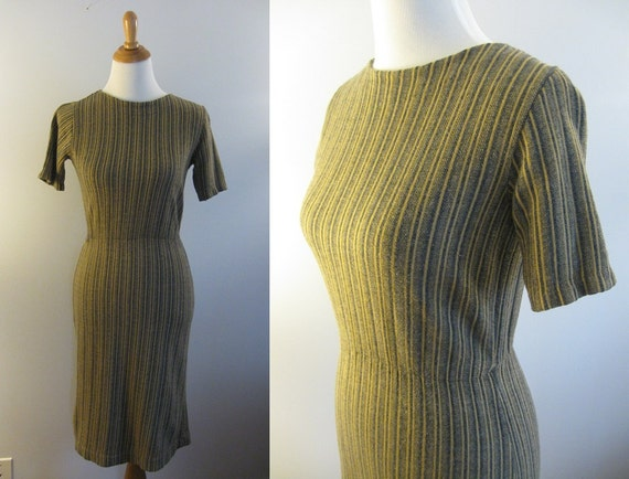 SALE 1960s striped day dress / vintage 60s black and gold wiggle dress