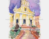 """Watercolor Sketch Print:  """"Old San Juan Cathedral"""" - by Luis E. Aparicio"""