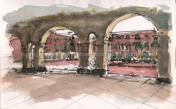 """Original Watercolor, 9in x 6in, """"Cuartel de Ballajá"""", by Luis E. Aparicio"""