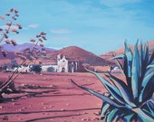 Acrylic on Canvas - Village House and Cactus - Large, Free Shipping
