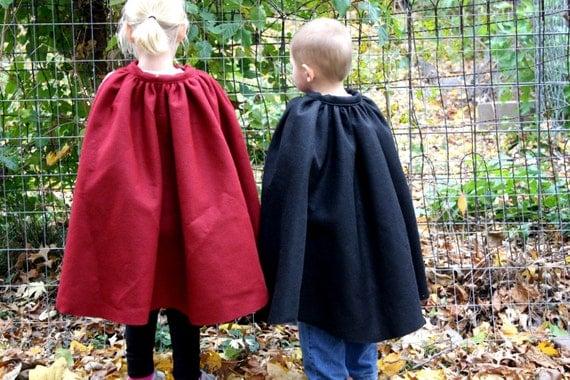 Fairy Tale Cape Kids Dress Up Burgundy Ruby Red Felt  - Prince Charming