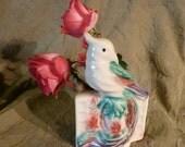 vintage ceramic parakeet bird vase or planter