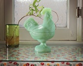 Jadeite Glass Covered Rooster Dish