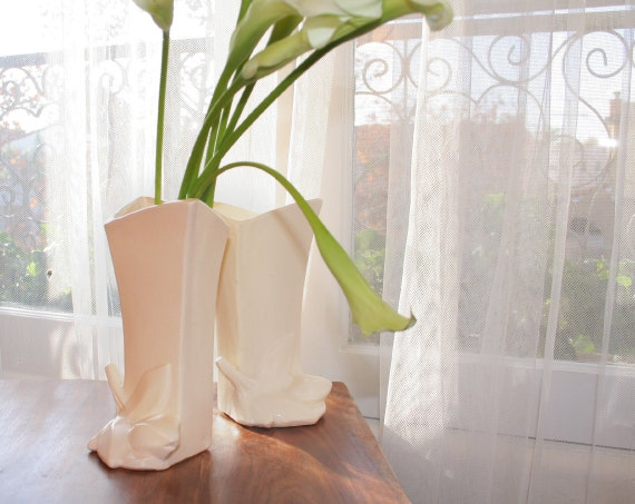 Versatile McCoy Lily Bud Vases / Bookends, Matte Ivory Matched Pair