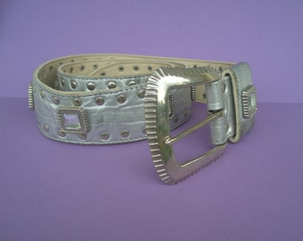 90's Silver Leather belt, large square Rhinestones, silver studs, original, disco, accessory, faux snake skin, egst, Greece