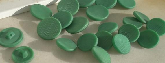 50's Dark Green Glass Buttons, 2 small / 12 large, set of 24, original, sewing supplies, craft supplies, mixed media, Greece