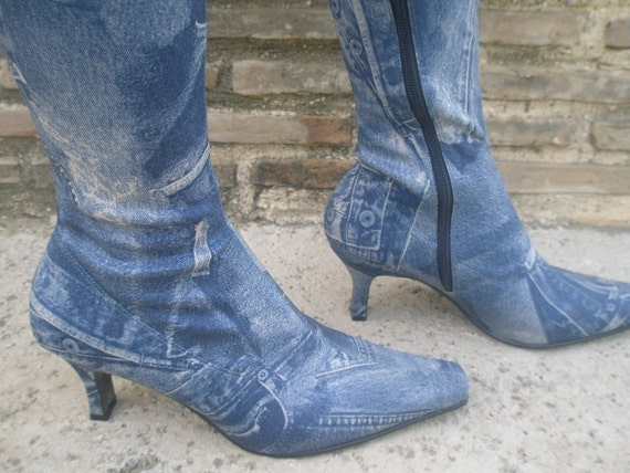 Reserved for Sherry-SALE-Fabulous Denim Jean look stretch boots, new unworn, European 39, U.S. 8, 'Migato' made in Greece-Sale were 44.00
