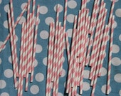 Paper Straws in Light Pink and White Stripes, Pack of 50