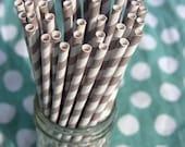 Paper Straws - 50 Grey and White Striped Paper Straws