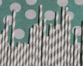 Paper Straws - 100 Count - Grey and White Striped