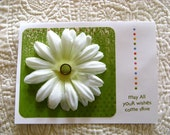 """Summer Flower Card in Green and White -""""May all your wishes come true"""" Sentiment-Includes Envelope"""